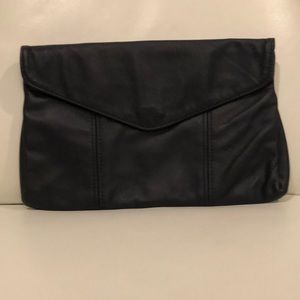 Handbags - Navy Blue Leather Envelope-Style Clutch Purse